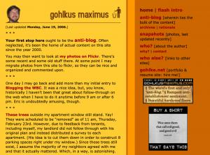 gohlkusmaximus.com homepage, June 2006